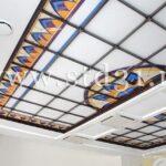 арт деко витражный потолок, синий с бежевым